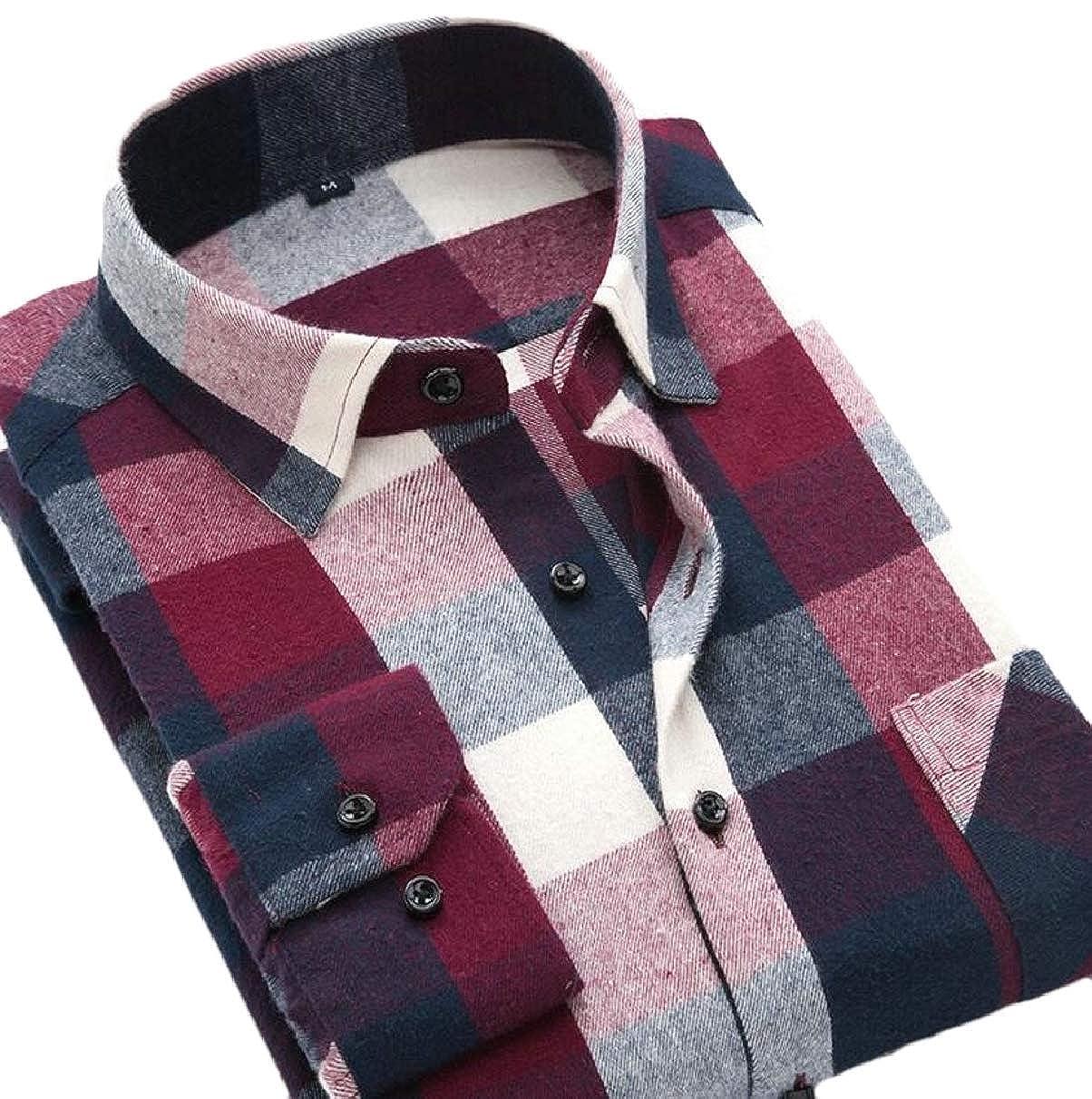 ZXFHZS Mens Long Sleeve Western Plaid Shirt Button Down Shirt