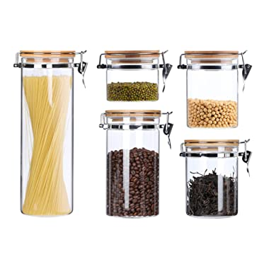 Clear Glass Airtight Food Storage Canisters Containers For The Kitchen Glass Storage Jars With Clamp Bamboo Lids Pasta Spaghetti Coffee Bean Tea Flour Sugar Canister Cookies Candy Jar 5 Piece Set