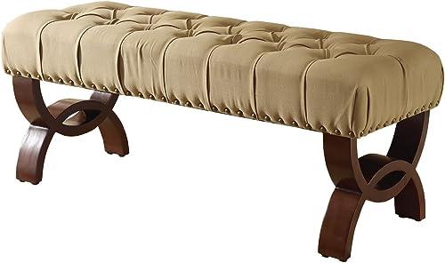HomePop Button Tufted Nail Head Trim Bench - a good cheap ottoman chair