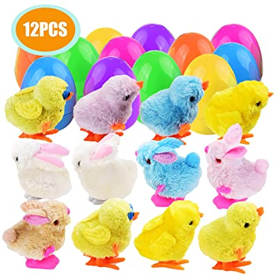 Mitcien 12 Pack Wind-Up Toys with eggs for Kids, Clockwork Cute and Colorful Bunnies and Chicken: Toys & Games
