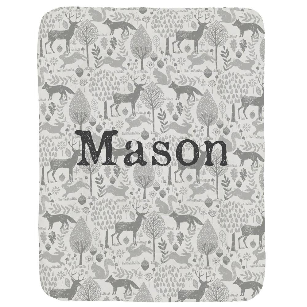 Carousel Designs Personalized Custom Gray Woodland Animals Crib Comforter Mason Idea - Organic 100% Cotton Baby Comforter - Made in the USA