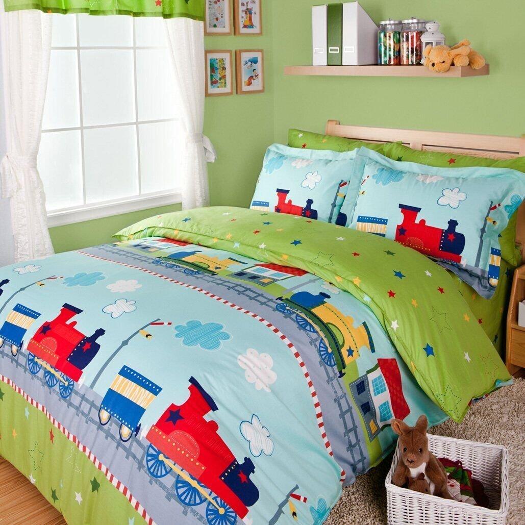 LeLv Fantastic Journey By Train Duvet Cover Set Green Boys Bedding Kids Bedding, Twin Full Size (Twin)