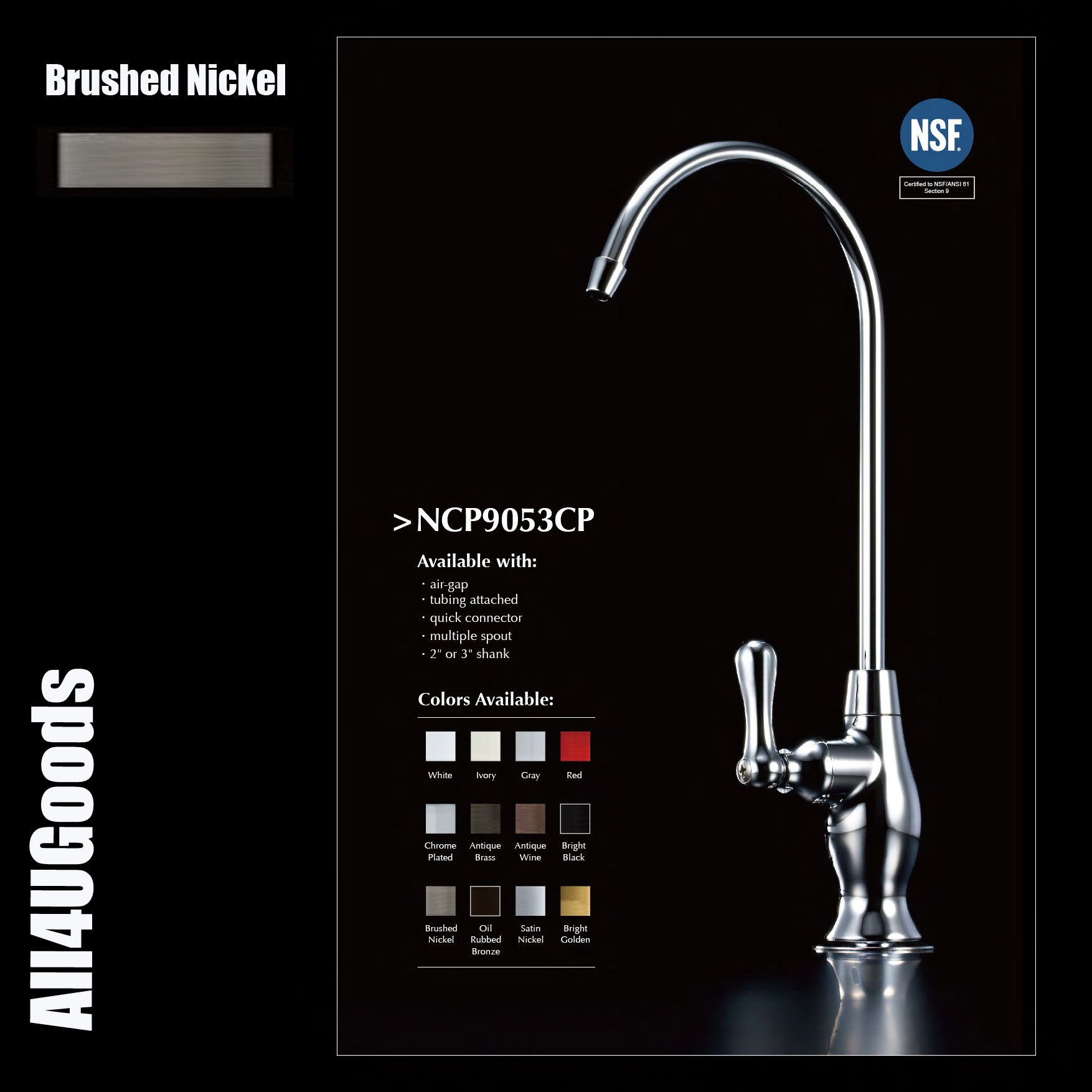 Non-Air Gap Luxury Drinking Water Faucet Brushed Nickel Finish RO Reverse Osmosis Ionizer 905 Series