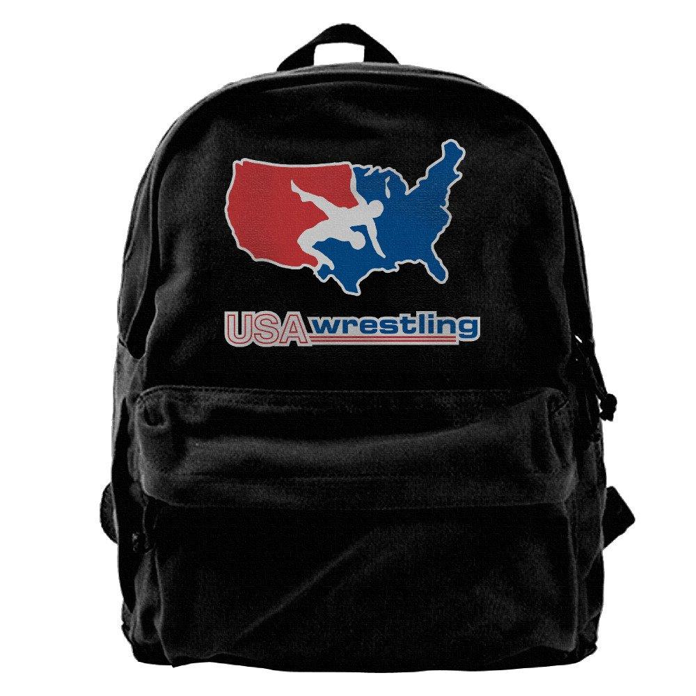 VCARETF Canvas Backpacks Usa Wrestling Logo Canvas Backpack Travel Rucksack Backpack Daypack Knapsack Laptop Shoulder Bag