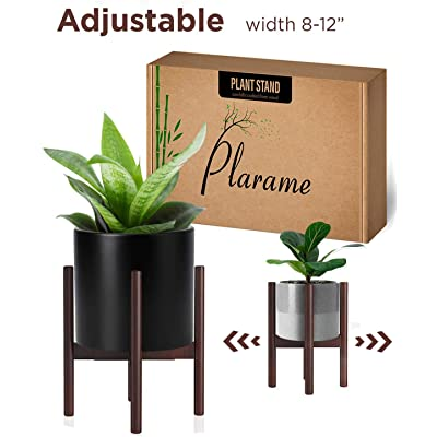 Adjustable Wood Plant Stand Mid Century Modern for Indoor Outdoor Planters, Flower Pot, Plant Holder (Plant and Pot NOT Included) : Garden & Outdoor