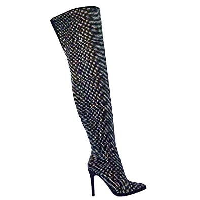 14034d73184 Aquapillar Fur Lined Over The Knee OTK Thigh High Rhinestone Embellish  Dress Boot Black
