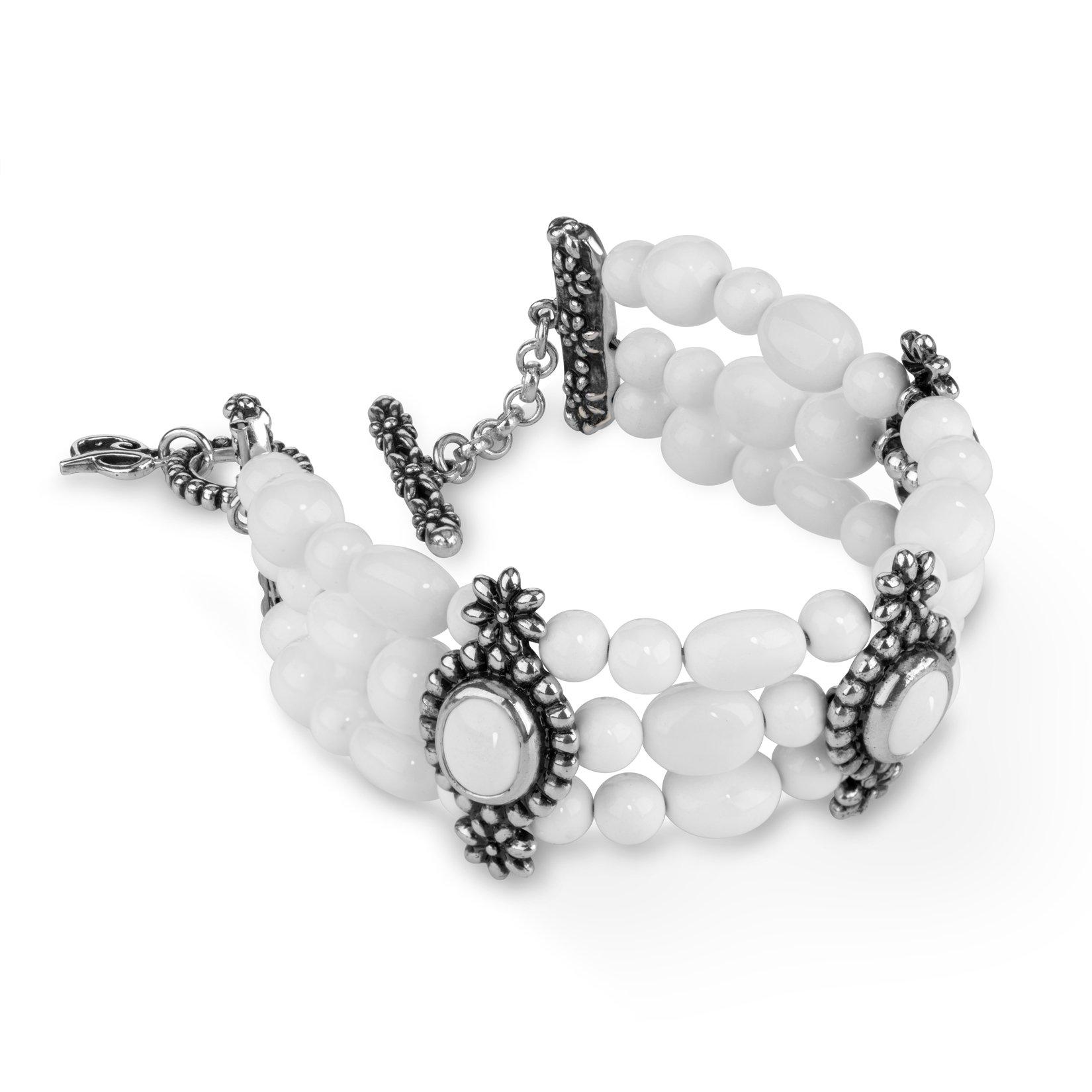 Carolyn Pollack Genuine .925 Sterling Silver White Agate Toggle Bracelet