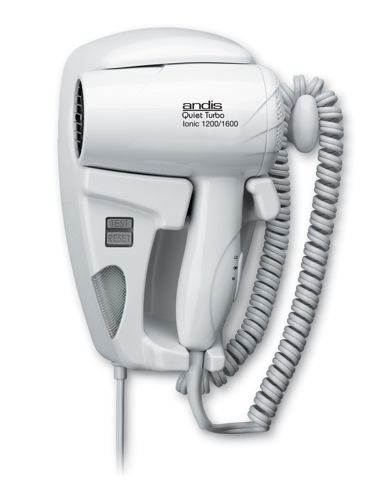 Andis 1600-Watt Quiet Wall Mounted Hangup Hair Dryer with Night Light, White (30975)