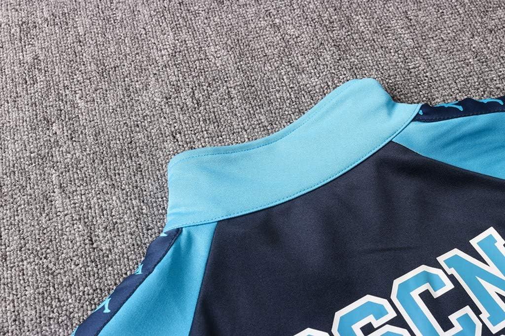 Europeas de f/útbol Largo Collar de Deporte de f/útbol de Entrenamiento Uniforme Gris Oscuro Azul Zafiro Chaqueta con Capucha Varias Opciones de tama/ño CMKA0559