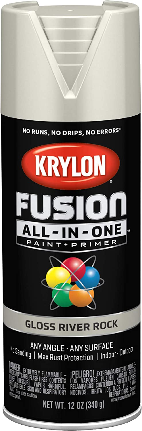 Krylon K02721007 Fusion All-In-One Spray Paint for Indoor/Outdoor Use, Gloss River Rock Gray, 12 Ounces