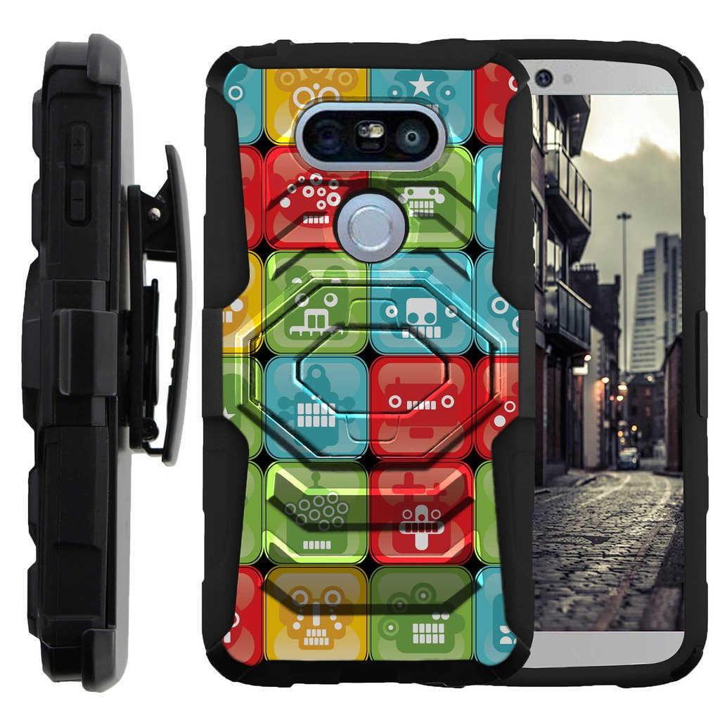 TurtleArmor | Compatible for LG G5 Case | H850 [Octo Guard] Armor Solid Dual Hybrid Cover Rugged Kickstand Impact Silicone Carry Belt Clip Holster Robot Android Design - Blocked Robot Heads