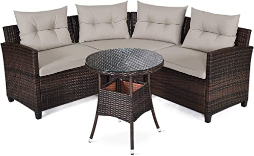 HAPPYGRILL 4PCS Outdoor Patio Furniture Set Wicker Sectional Sofa L-Shape w/Round Tempered Glass Top Table Cushions Modern Conversation Set Curved Sofa Set