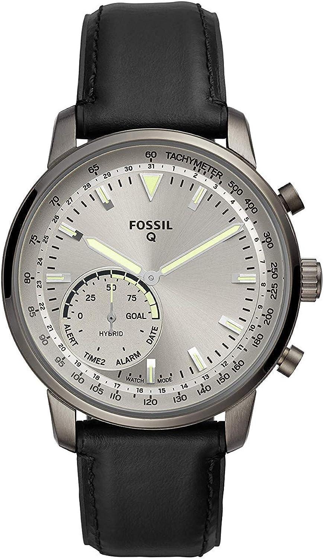 Fossil Hybrid Smartwatch Q Goodwin con Correa de Cuero Negro para Hombre (FTW1171)