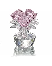 H&D Pink Crystal Rose Bouquet Flowers Figurines Ornament with Gift box