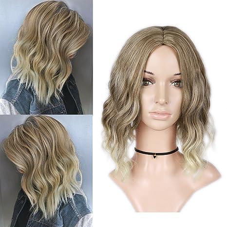 Peluca de color rubio para mujer, resistente al calor, pelo de fibra sintética natural