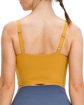 Lavento Womens Longline Sports Bra Yoga Crop Tank Top with Built in Bra