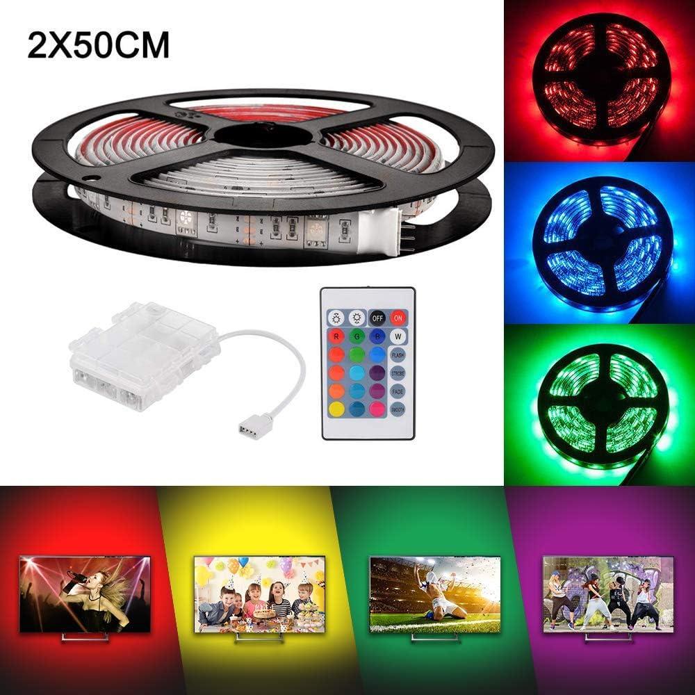 RGB LED-Streifenlicht wasserdicht 2 x 50 cm mit 24-Key-IR-Fernbedienung f/ür die Innenbeleuchtung von DIY