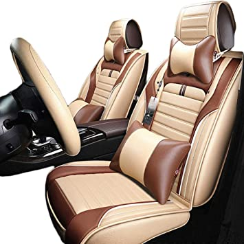 VW Tiguan Luxury BEIGE//BLACK Leather Look Car Seat Covers Full Set
