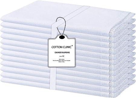 Clinica de algodon 12 Servilletas de Tela con Encaje 50 x 50 cm ...