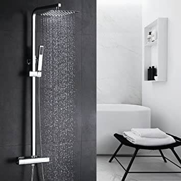 HOMELODY Duschsystem mit Thermostat Duscharmatur Regendusche Duschset Handbrause