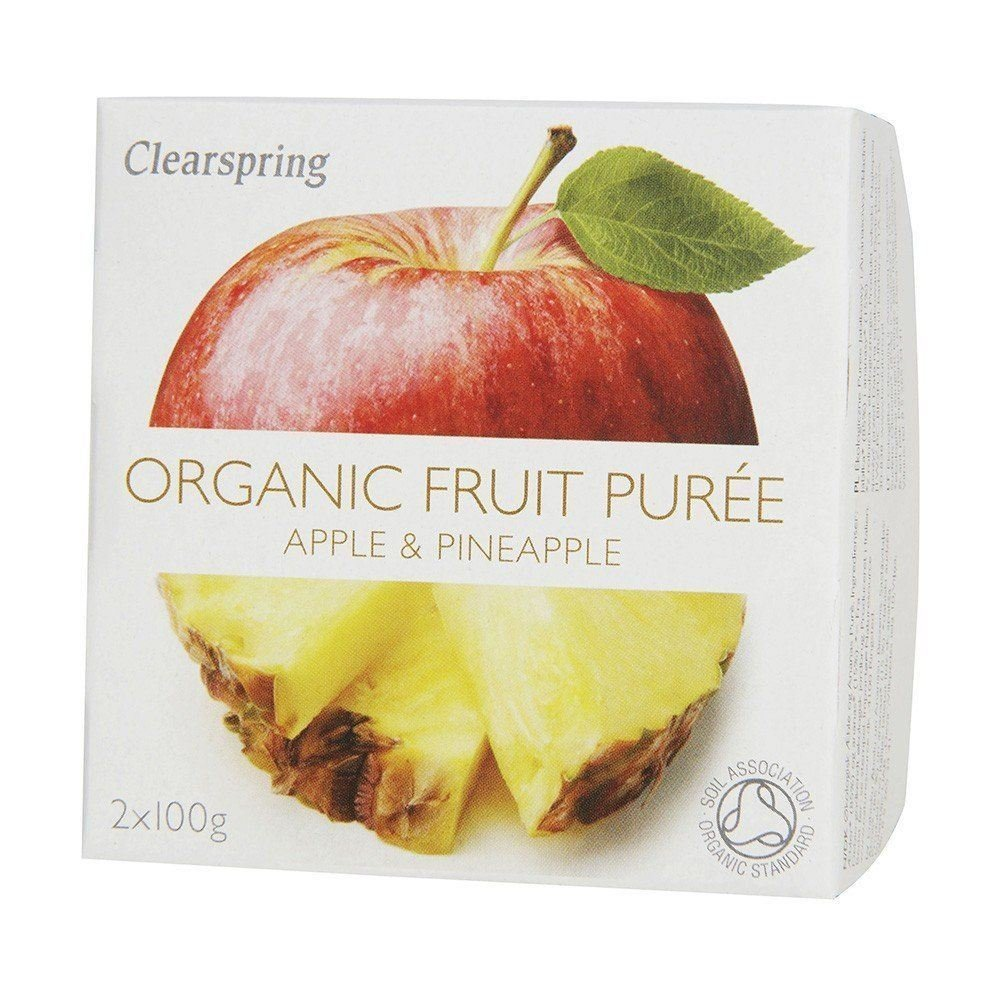 Clearspring Organic Fruit Puree Apple & Pineapple 2 x 100g (Pack of 2)