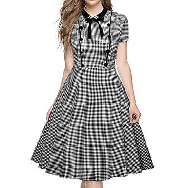 5faf240601 Ghazzi Women Dresses Vintage Plaid Dress Short Sleeves Midi Dress Party  Retro Ball Gown Swing Dress at Amazon Women s Coats Shop