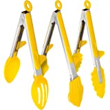 Zestkit Kitchen Tongs BBQ Silicone and Stainless Steel-3 Types for Multi-purpose Cooking (Yellow,Set of 3,10 inches)
