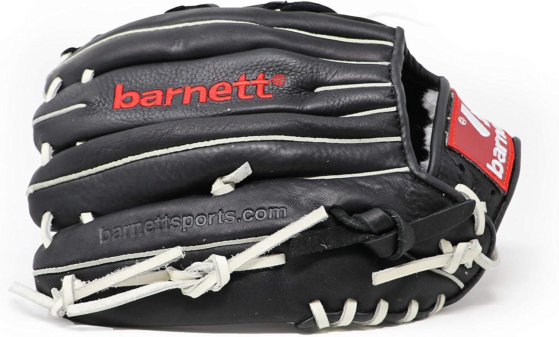 softball barnett GL-120 RH guanti da baseball guanto mano destra nero per mancini pelle per gara outfield 12