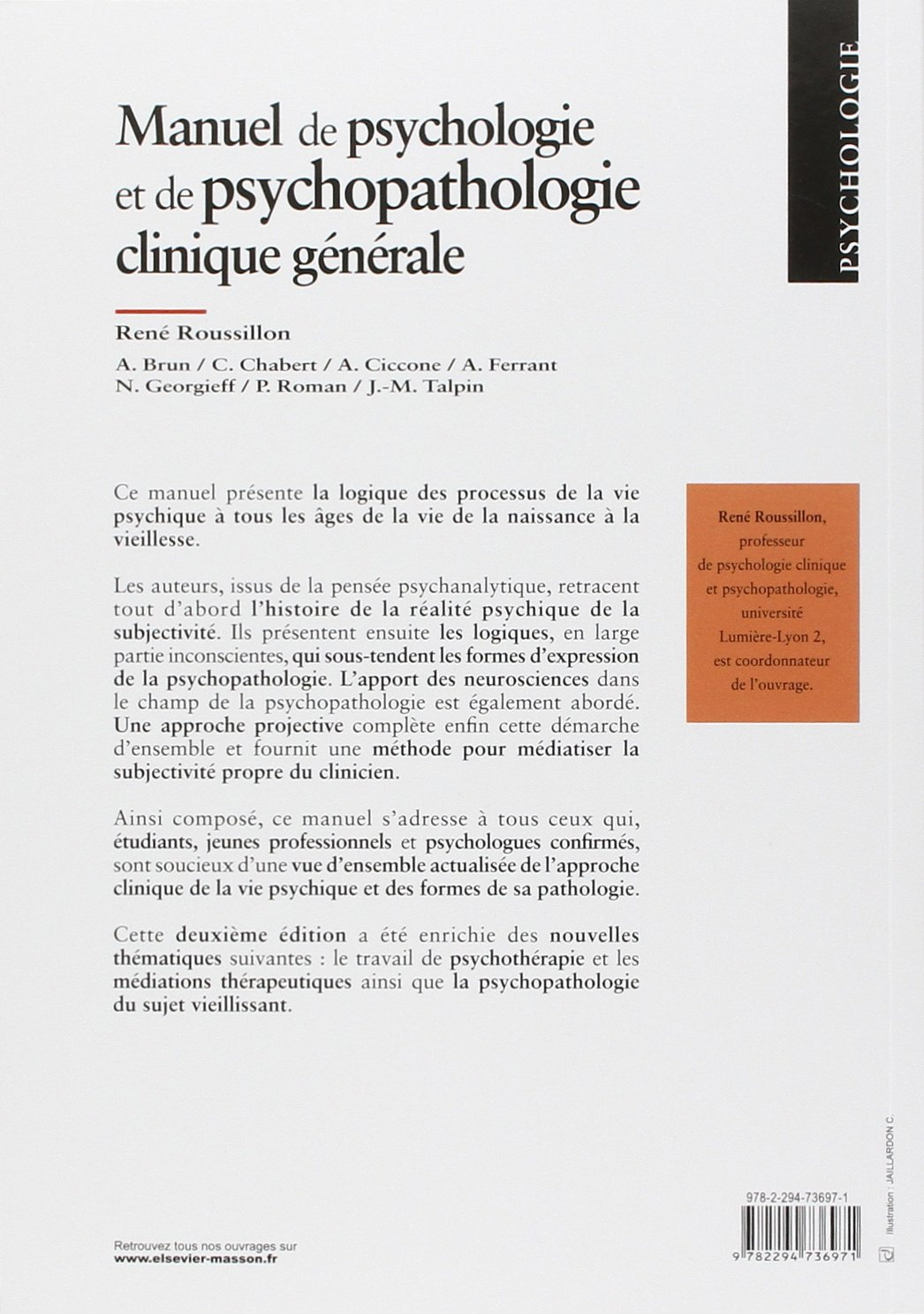 MANUEL DE PSYCHOLOGIE CLINIQUE GÉNÉRALE 2E ÉD.: Amazon.ca: René Roussillon:  Books