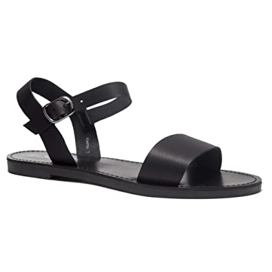 4334f2e7020 Herstyle Women s Keetton Open Toes One Band Ankle Strap Flat Sandals Black 5