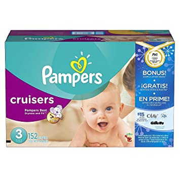 Pampers Cruisers Baby Diapers Super Economy Pack Plus Bonus Sample Offer (Size 3 - 152