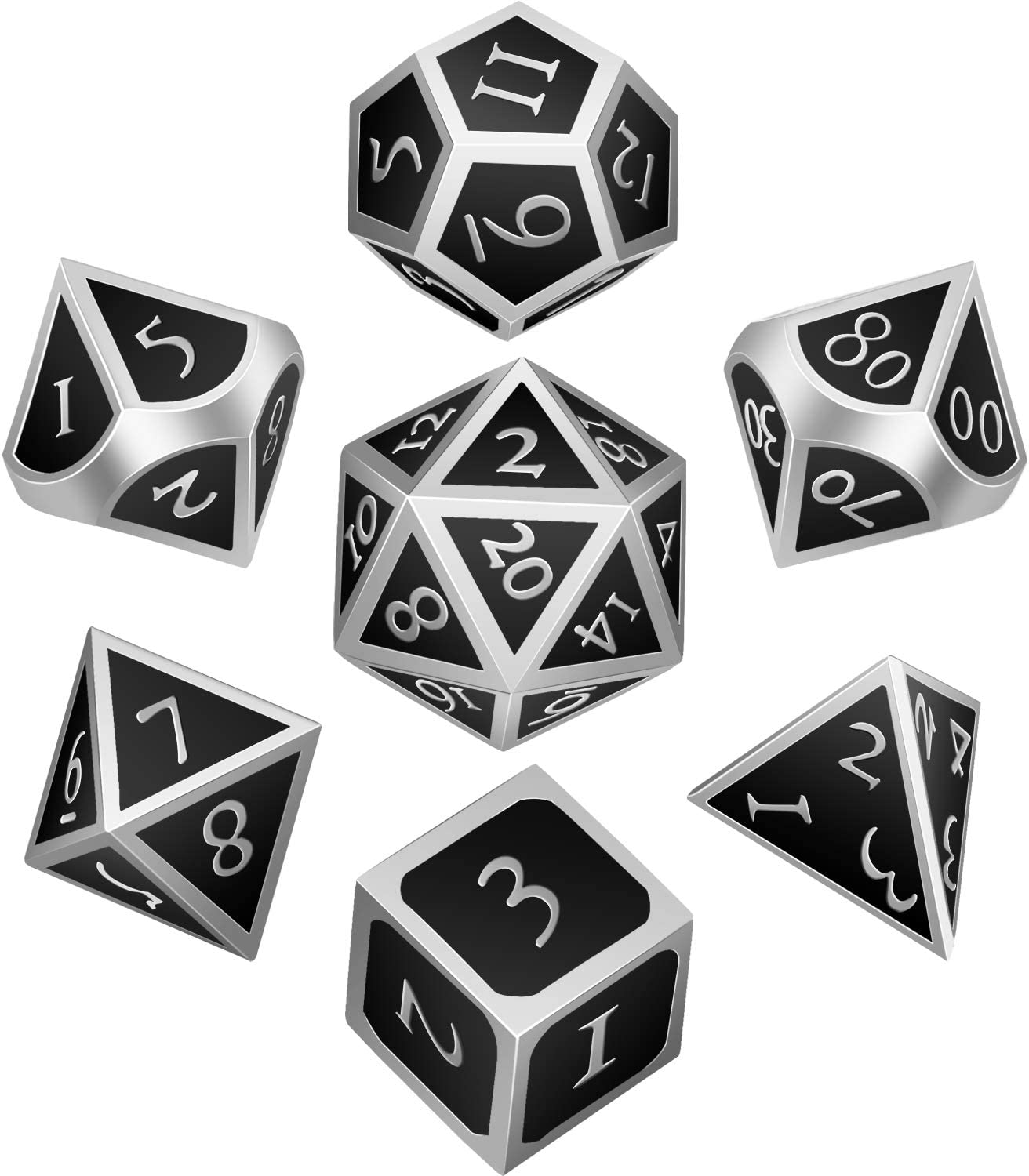 Hestya 7 Pieces Metal Dices Set DND Game Polyhedral Solid Metal D&D Dice Set with Storage Bag and Zinc Alloy with Enamel for Role Playing Game Dungeons and Dragons, Math Teaching (Silver Edge Black)