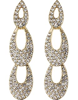 Clip On Earrings - Gold Plated Drop Earring With A Clear Stone And Crystals - Celia by Bello London