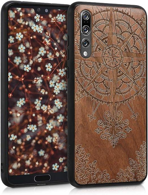 kwmobile Coque en bois compatible avec Huawei P20 Pro – Coque de téléphone avec bumper en TPU – Boussole baroque marron foncé