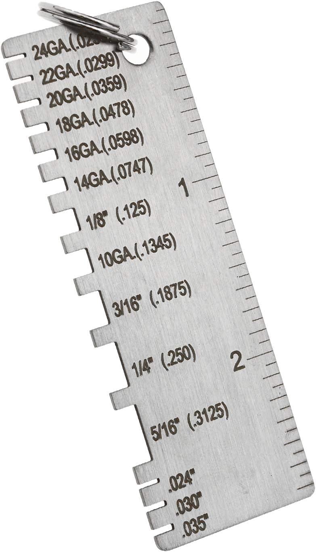 BIYM 2pcs Tailles Fils Jauge d/épaisseur Rond Double Face Fil C/âble Feuille Standard M/étal AWG et SA de Soudage en Acier Inoxydable M/étallique