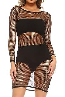 f6e859fc41 ELAN Women's Sheer Fishnet Swimsuit Cover Up Dress at Amazon Women's ...