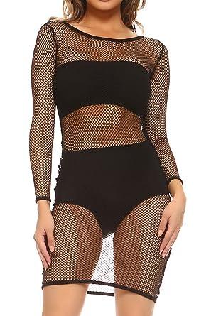 d41e5c4b35e ICONOFLASH Women s Long Sleeve Fishnet Cover Up Dress at Amazon ...