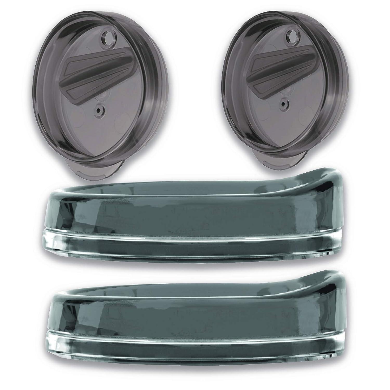 Kompass 2 pack Smoke Snap-Fit Tumbler and blender lid for 16 Ounce Tumbler shaker