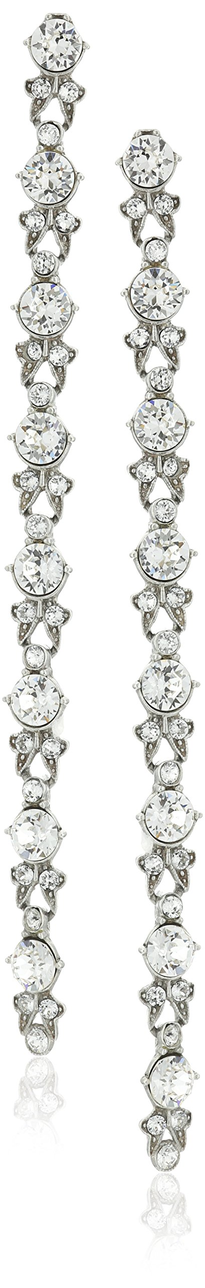 Ben-Amun Jewelry Swarovski Crystal Round Cut Long Drop Earrings for Bridal Wedding Anniversary
