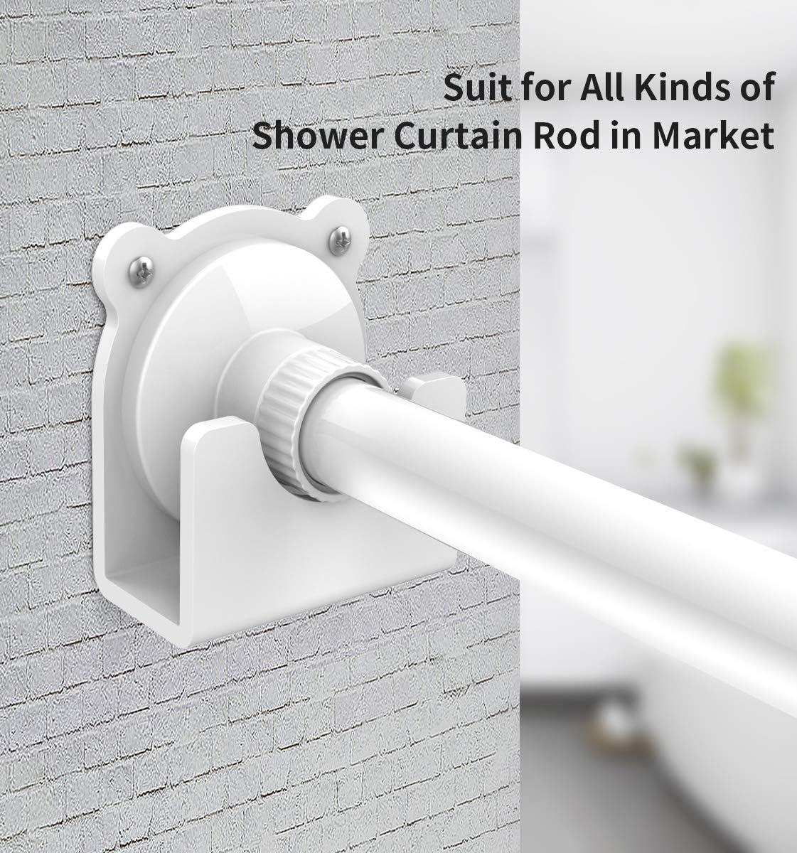 Shower Curtain Rod Holder Universal Cartoon Style Acrylic Adhesive Wall Mount