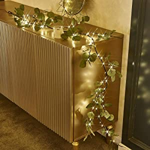 bvanarn Decorative Garland Lights| Lighted Garland with Timer 96 Warm White Decorations Indoor| Twig Garland with Lights Battery Operated for Wedding Party Wall Bedroom Decor (Eucalyptus Garland)