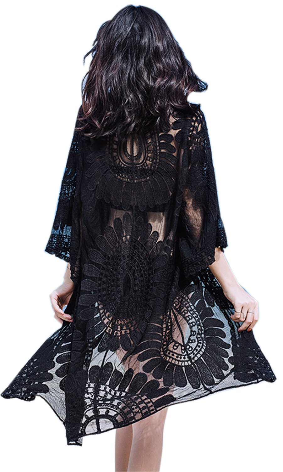 VenuStar Womens Beach Cover komino Cover up Long Black Cardigans Flowy Embroidered Lace with Half Sleeves (One Size, Y-Black)