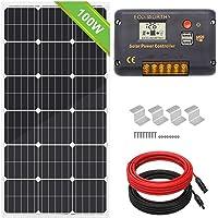 Kit de paneles solares monocristalinos de 100 W 12 V de la marca Everorthy + controlador de carga de 20 A para sistema…