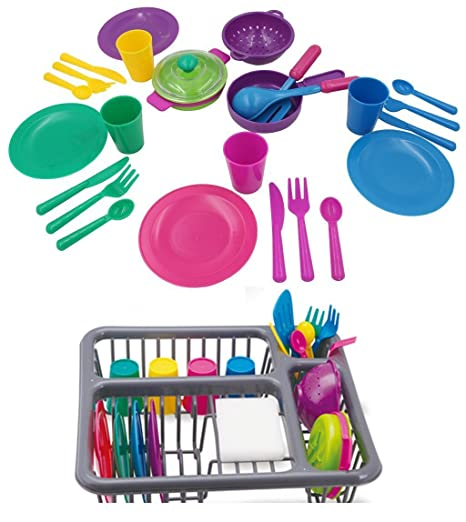 Holy Stone Pretend Play Kitchen Set For Kids Toys Tableware Dishes Playset  With Drainer (27