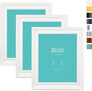 LaVie Home 8x10 Picture Frames (3 Pack, Distressed White Wood Grain) Rustic Photo Frame Set with High Definition Glass for Wall Mount & Table Top Display, Set of 3 Elite Collection
