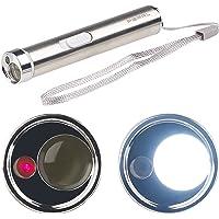 PEARL Stabtaschenlampe: 2in1-LED-Taschenlampe & Laserpointer, Edelstahl-Gehäuse, 15 Lumen (Taschenlampe Schlüsselanhänger)