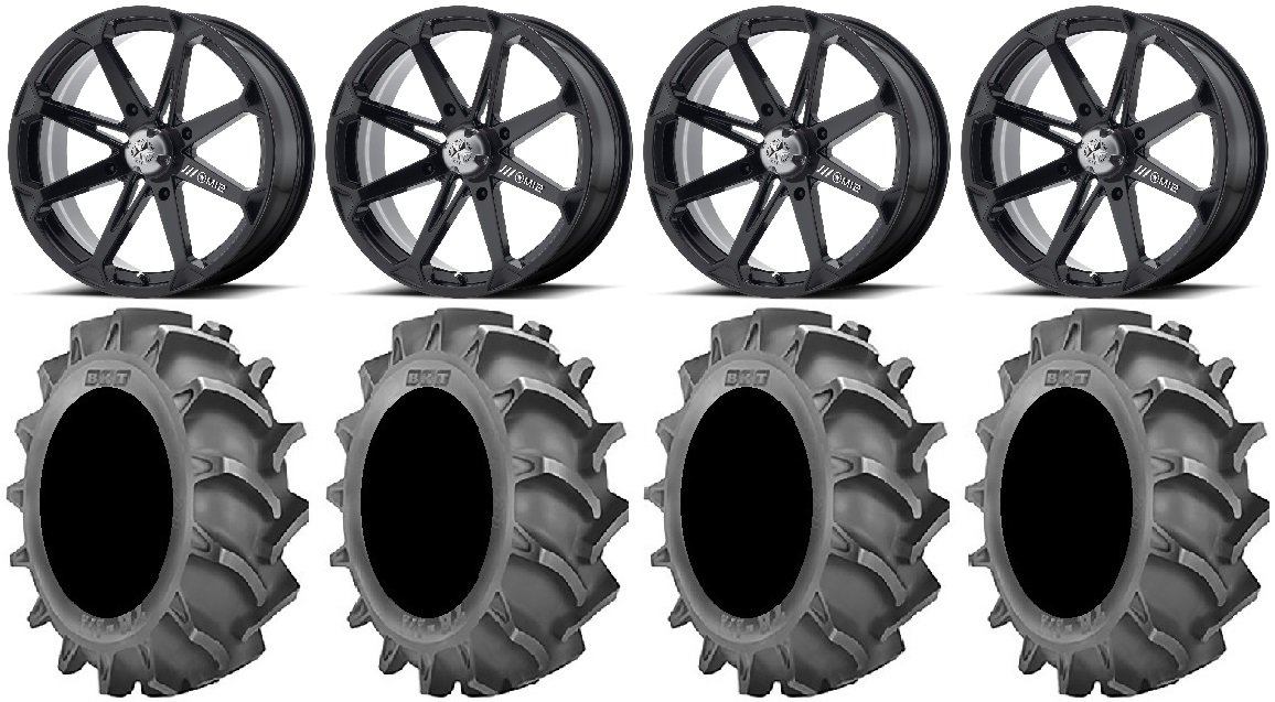 Bundle - 9 Items: MSA Black Diesel 18'' Wheels 33x8 BKT 171 (6ply) Tires [4x156 Bolt Pattern 12mmx1.25 Lug kit] by Powersports Bundle (Image #1)