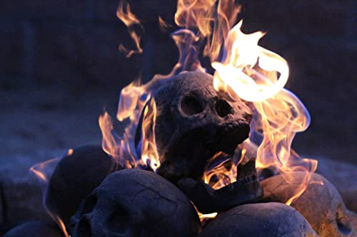 Myard Fireproof Imitated Human Fire Pit Skull Gas Log for NG, LP Wood Fireplace, Firepit, Campfire, Halloween...