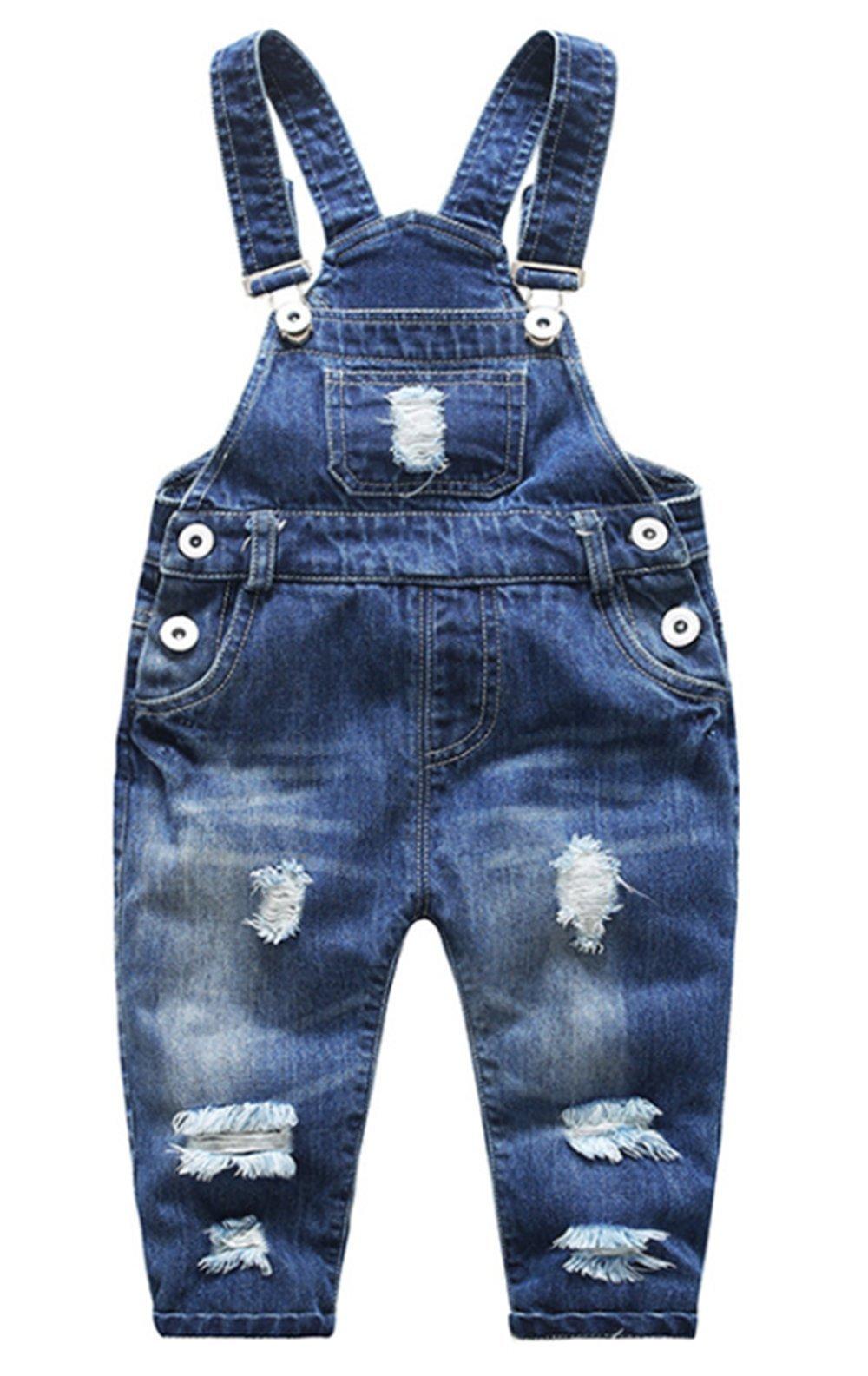 BANGELY Kids Boys Girls Casual Button Denim Overall Bib Jeans Pants (3-4Years, Dark Blue)