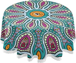 STAYTOP Indoor and Outdoor Tablecloth 60inch,Vintage Tribal Ethnic Colorful Boho Mandala Flower Waterproof Patio Round Table Cloths with Umbrella Hole and Zipper,Table Covers for Backyard/BBQ/Picnic